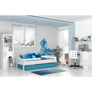 ArtAJ Detská posteľ Hugo 160 x 80 / MDF Farba: biela / modrá, Prevedenie: bez matraca