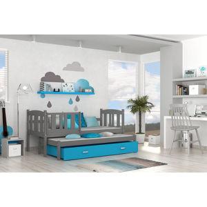 ArtAJ Detská posteľ Kubuš P2 | 190 x 80 cm Farba: sivá/modrá, Prevedenie: s matracom, MDF