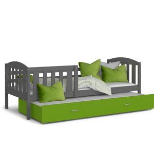 ArtAJ Detská posteľ Kubuš P2   200 x 90 cm Farba: Sivá / zelená, Prevedenie: bez matraca, Rozmer, materiál: MDF