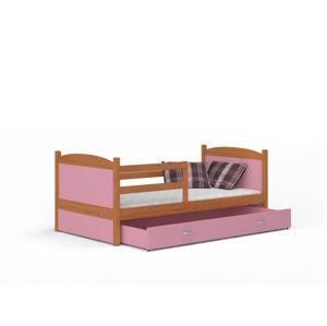 ArtAJ Detská posteľ Mateusz P drevo / MDF 160 x 80 cm Farba: jelša / ružová, Prevedenie: bez matraca