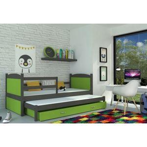 ArtAJ Detská posteľ Mateusz P2 / MDF 190 x 80 cm Farba: sivá/zelená 190 x 80 cm, Prevedenie: s matracom