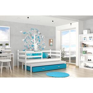 ArtAJ Detská posteľ Jacek P2   190 x 80 cm Farba: biela / modrá, Prevedenie: s matracom, MDF
