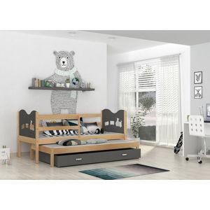ArtAJ Detská posteľ Max P2 Max: borovica / sivá  bez matraca