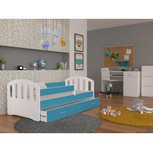 ArtAJ Detská posteľ Happy 160x80 HAPPY: biela / modrá s matracom