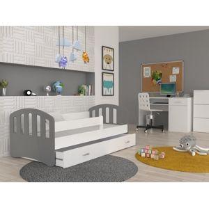 ArtAJ Detská posteľ Happy 180x80 HAPPY: sivá / biela bez matraca