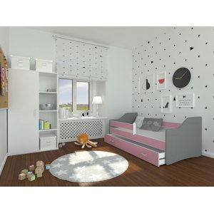 ArtAJ Detská posteľ Sweety 140x80 Sweety: sivá / ružová s matracom