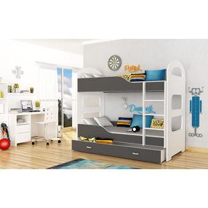 ArtAJ Detská poschodová posteľ Dominik 180 x 80 Farba: biela / sivá