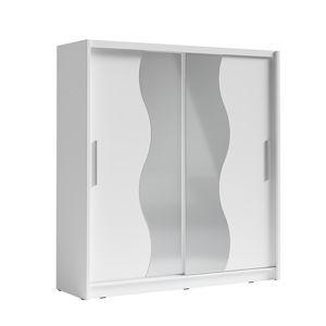 TEMPO KONDELA Skriňa s posúvacími dverami, biela, BIRGAMO TYP 1