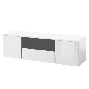 TEMPO KONDELA RTV stolík, biela/biely lesk/sivá, RADAL