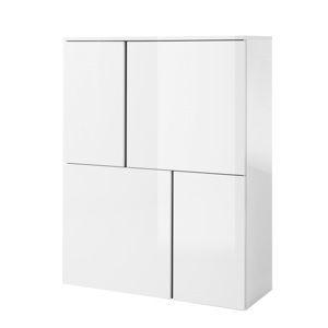 TEMPO KONDELA Komoda 4, biela/biely lesk/sivá, RADAL 4D