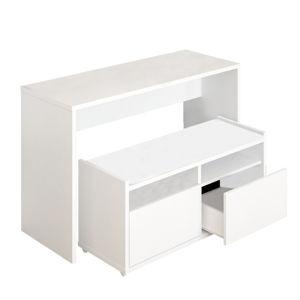 TEMPO KONDELA Viacúčelový stôl a lavica, biela, DELIMA