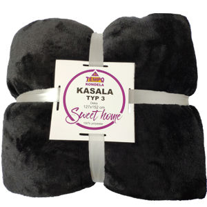 TEMPO KONDELA Obojstranná deka, čierna, 127x152, KASALA TYP 3