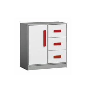 TEMPO KONDELA Komoda, sivá/biela/červená, PIERE P07