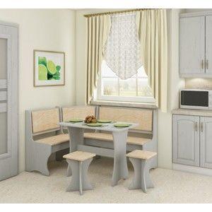WIP Rohový set s taburetkami Prevedenie: Craft biely / Monaco