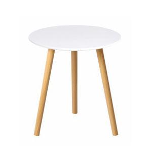 TEMPO KONDELA Príručný stolík, biela/prírodná, PAMINO