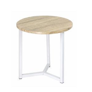 TEMPO KONDELA Príručný stolík, prírodná/biela, CELINI