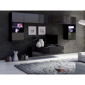 ArtElb Obývacia stena CALABRINI II Farba: čierna / čierny lesk