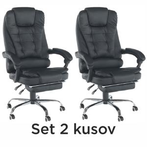 2 kusy, kancelárske kreslo s výsuvnou podnožou, čierna, TICHON NEW