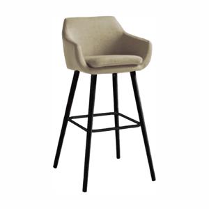 Barová stolička, béžová látka/čierna, TAHIRA