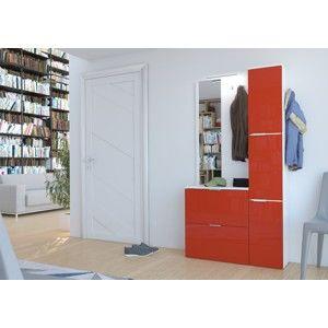 ArtAdr Predsieňová stena GILBERT Farba: biely lesk / červený lesk