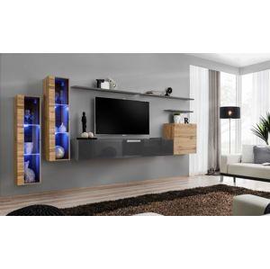WIP Obývacia stena SWITCH XI Farba: dub votan / sivý mat / sivý lesk
