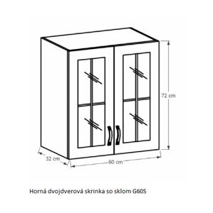 Tempo Kondela Kuchynská linka Provance Provance: Horná skrinka G60S - 60x72x32 cm