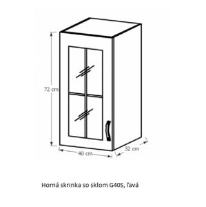 Tempo Kondela Kuchynská linka Sicilia Sicilia: Horná skrinka G40S - ľavá 40x72x32 cm