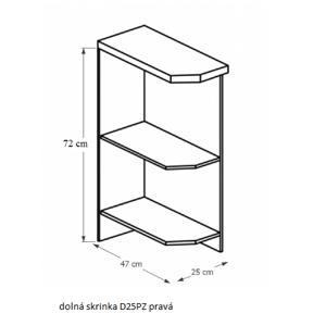 Tempo Kondela Kuchynská linka Sicilia Sicilia: Spodná skrinka D25PZ - prava 25x82x47 cm