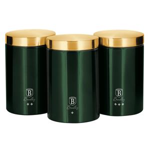 Sada dóz na potraviny, 3ks, metalická zelená Emerald, BERLINGERHAUS BH-6272