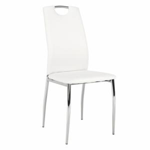 Jedálenská stolička, ekokoža biela/chróm, ERVINA, rozbalený tovar