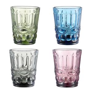 Farebné vintage poháre na vodu, 4ks, 240ml, SAVOY TYP 2