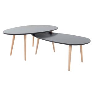 Set 2 konferenčných stolíkov, sivá/sivá, DOBLO