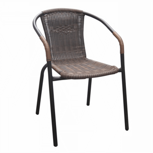 Stohovateľná stolička, hnedá/čierny kov, DOREN, poškodený tovar