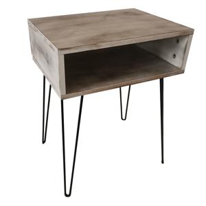 Príručný/nočný stolík, biela vintage/čierna, HONEJ